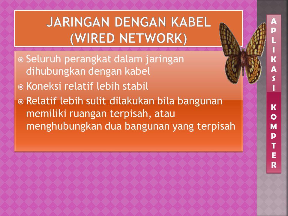  Seluruh perangkat dalam jaringan dihubungkan dengan kabel  Koneksi relatif lebih stabil  Relatif lebih sulit dilakukan bila bangunan memiliki ruangan terpisah, atau menghubungkan dua bangunan yang terpisah  Seluruh perangkat dalam jaringan dihubungkan dengan kabel  Koneksi relatif lebih stabil  Relatif lebih sulit dilakukan bila bangunan memiliki ruangan terpisah, atau menghubungkan dua bangunan yang terpisah APLIKASIKOMPTERAPLIKASIKOMPTER APLIKASIKOMPTERAPLIKASIKOMPTER