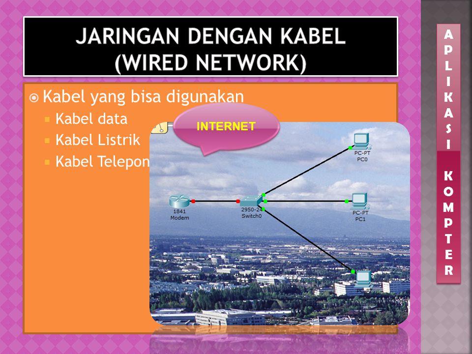  Seluruh perangkat dalam jaringan dihubungkan dengan kabel  Koneksi relatif lebih stabil  Relatif lebih sulit dilakukan bila bangunan memiliki ruan