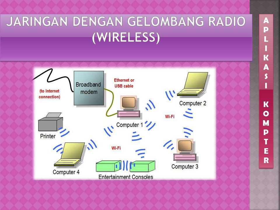 Seluruh perangkat dalam jaringan dihubungkan dengan menggunakan gelombang radio  Koneksi relatif kurang stabil  Relatif lebih mudah dilakukan bila