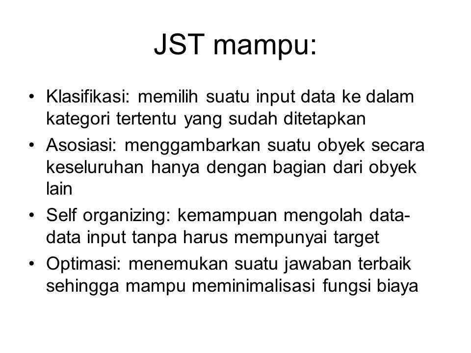 JST mampu: Klasifikasi: memilih suatu input data ke dalam kategori tertentu yang sudah ditetapkan Asosiasi: menggambarkan suatu obyek secara keseluruh