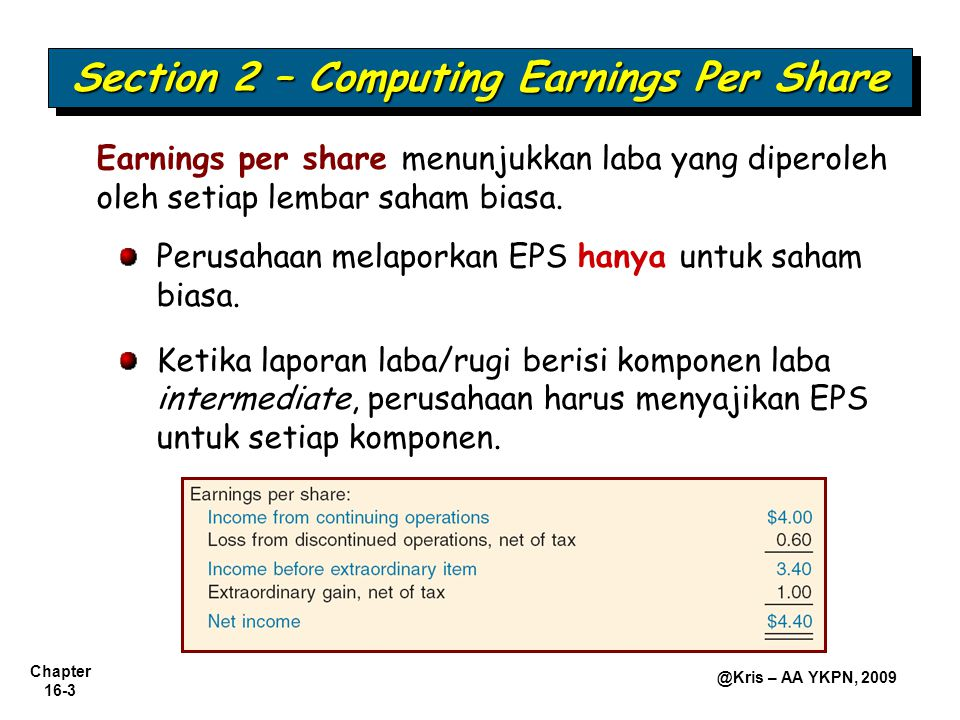 Chapter 16-4 @Kris – AA YKPN, 2009 Earnings Per Share-Simple Capital Structure   Simple Structure—Hanya saham biasa; tidak ada sekuritas dilutif.