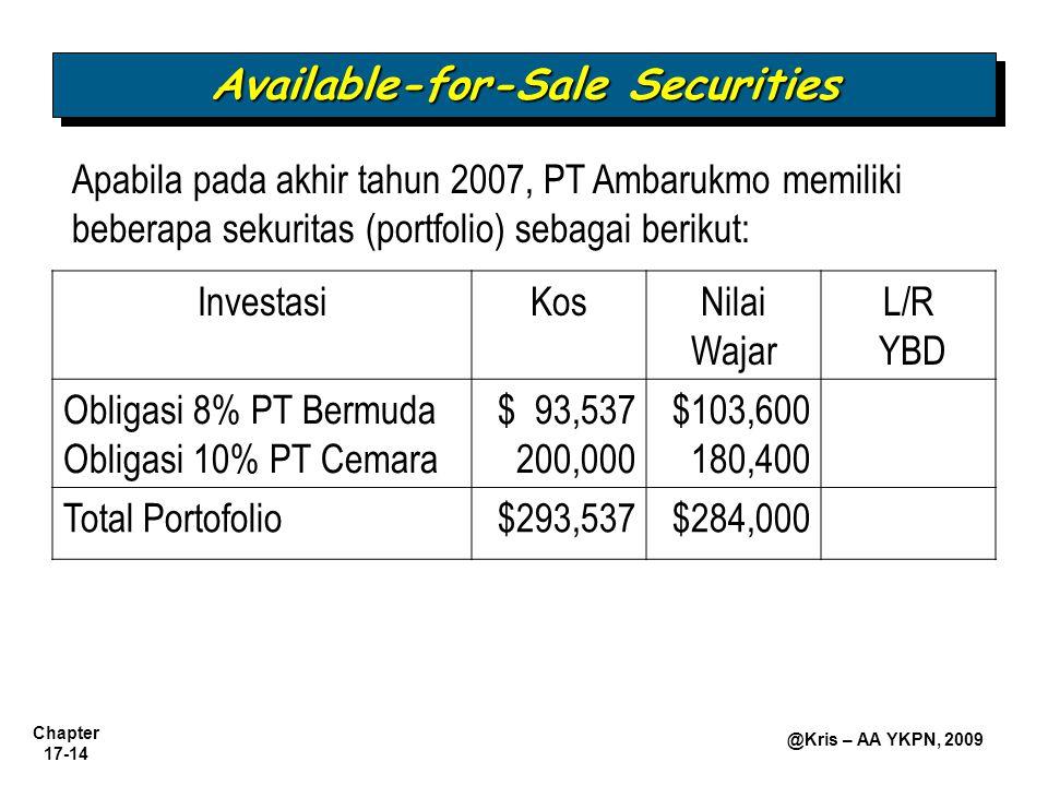Chapter 17-14 @Kris – AA YKPN, 2009 Available-for-Sale Securities Apabila pada akhir tahun 2007, PT Ambarukmo memiliki beberapa sekuritas (portfolio) sebagai berikut: InvestasiKosNilai Wajar L/R YBD Obligasi 8% PT Bermuda Obligasi 10% PT Cemara $ 93,537 200,000 $103,600 180,400 Total Portofolio$293,537$284,000