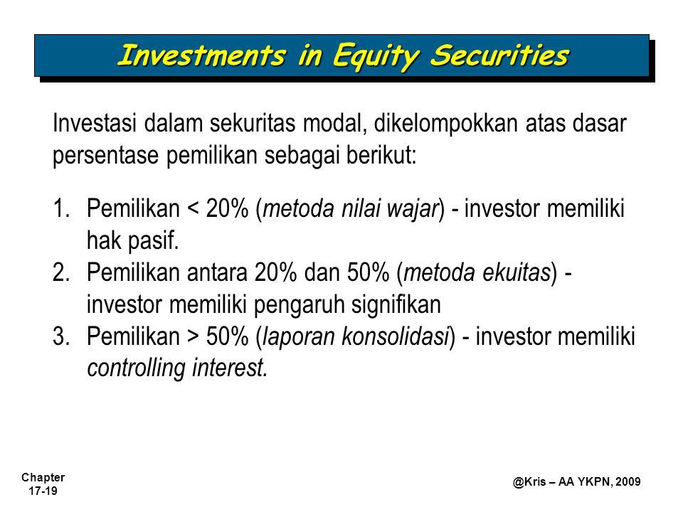 Chapter 17-19 @Kris – AA YKPN, 2009 Investments in Equity Securities 1.Pemilikan < 20% ( metoda nilai wajar ) - investor memiliki hak pasif. 2.Pemilik