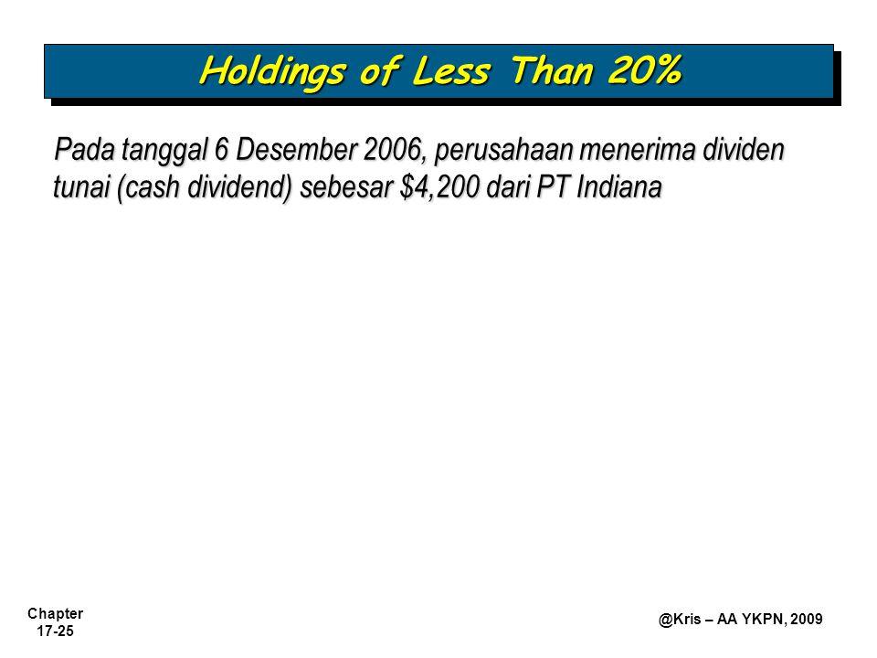 Chapter 17-25 @Kris – AA YKPN, 2009 Pada tanggal 6 Desember 2006, perusahaan menerima dividen tunai (cash dividend) sebesar $4,200 dari PT Indiana Holdings of Less Than 20%