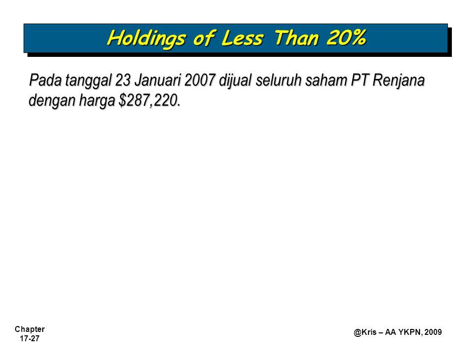 Chapter 17-27 @Kris – AA YKPN, 2009 Pada tanggal 23 Januari 2007 dijual seluruh saham PT Renjana dengan harga $287,220. Holdings of Less Than 20%