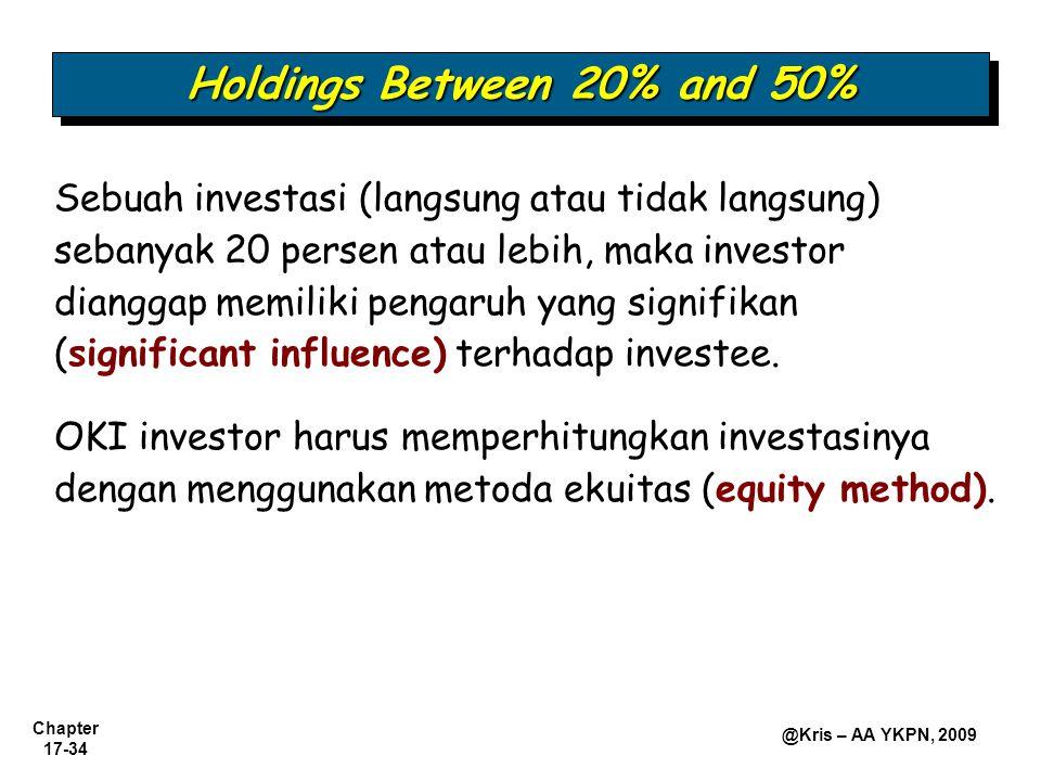 Chapter 17-34 @Kris – AA YKPN, 2009 Holdings Between 20% and 50% Sebuah investasi (langsung atau tidak langsung) sebanyak 20 persen atau lebih, maka investor dianggap memiliki pengaruh yang signifikan (significant influence) terhadap investee.