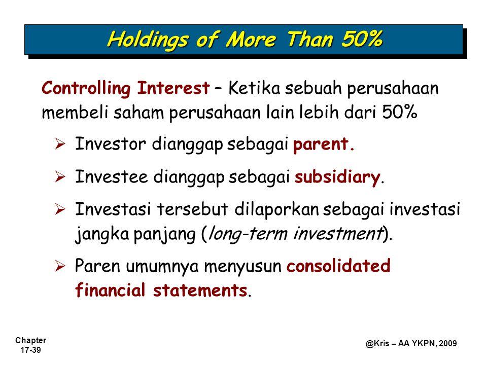 Chapter 17-39 @Kris – AA YKPN, 2009 Holdings of More Than 50% Controlling Interest – Ketika sebuah perusahaan membeli saham perusahaan lain lebih dari