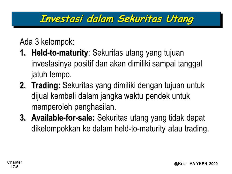 Chapter 17-5 @Kris – AA YKPN, 2009 Ada 3 kelompok: 1.Held-to-maturity 1.Held-to-maturity : Sekuritas utang yang tujuan investasinya positif dan akan d