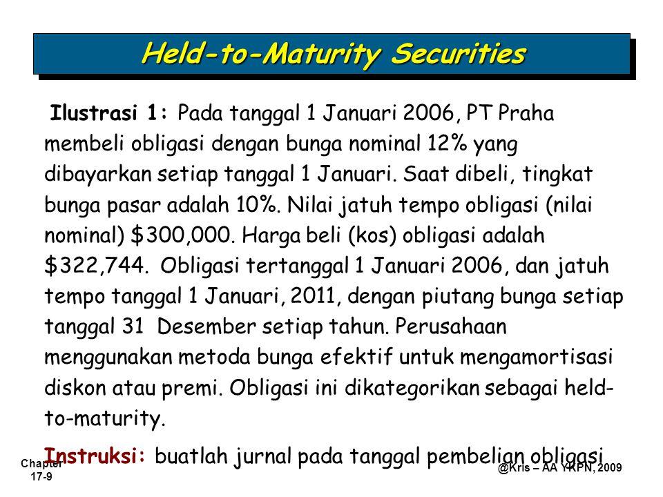 Chapter 17-20 @Kris – AA YKPN, 2009 Investments in Equity Securities Akuntansi dan pelaporan untuk sekuritas modal tergantung pada persentase pemilikan dan jenis sekuritas.