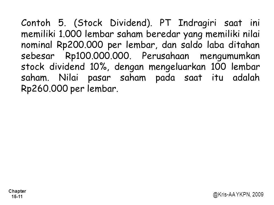 Chapter 15-11 @Kris-AA YKPN, 2009 Contoh 5. (Stock Dividend). PT Indragiri saat ini memiliki 1.000 lembar saham beredar yang memiliki nilai nominal Rp