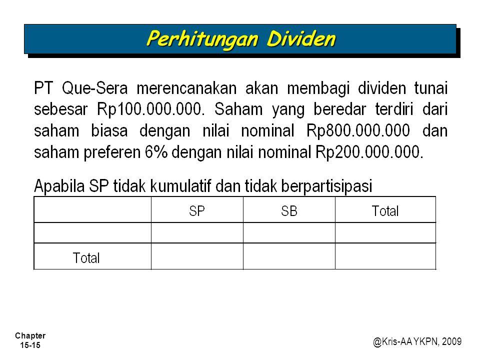 Chapter 15-15 @Kris-AA YKPN, 2009 Perhitungan Dividen