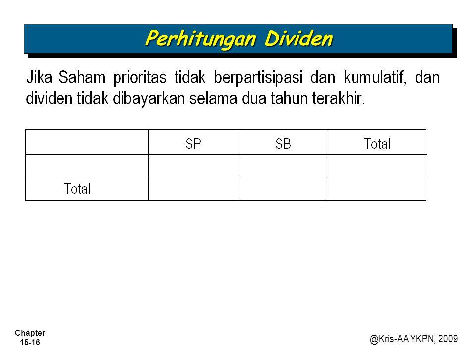 Chapter 15-16 @Kris-AA YKPN, 2009 Perhitungan Dividen
