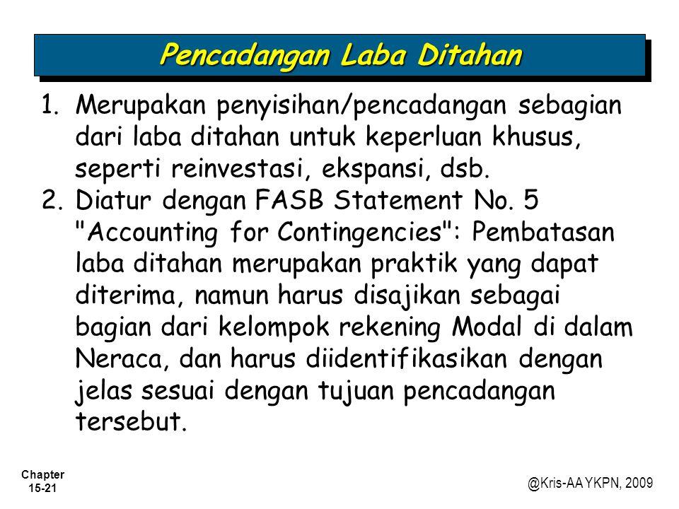 Chapter 15-21 @Kris-AA YKPN, 2009 Pencadangan Laba Ditahan 1.Merupakan penyisihan/pencadangan sebagian dari laba ditahan untuk keperluan khusus, seper