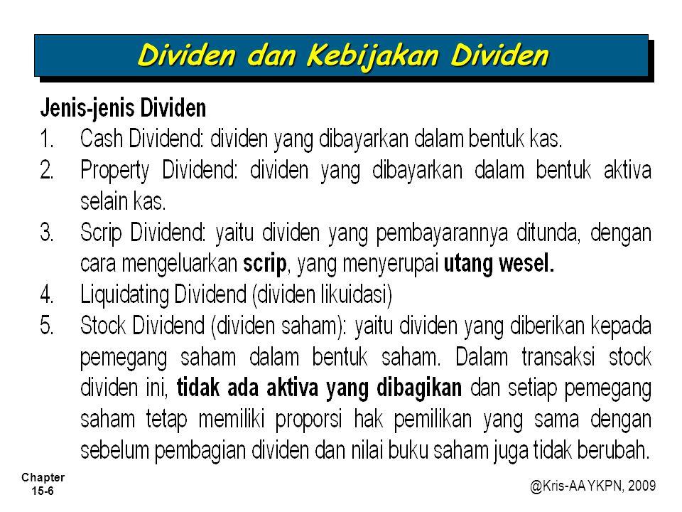 Chapter 15-7 @Kris-AA YKPN, 2009 Contoh 1: (Cash dividend).