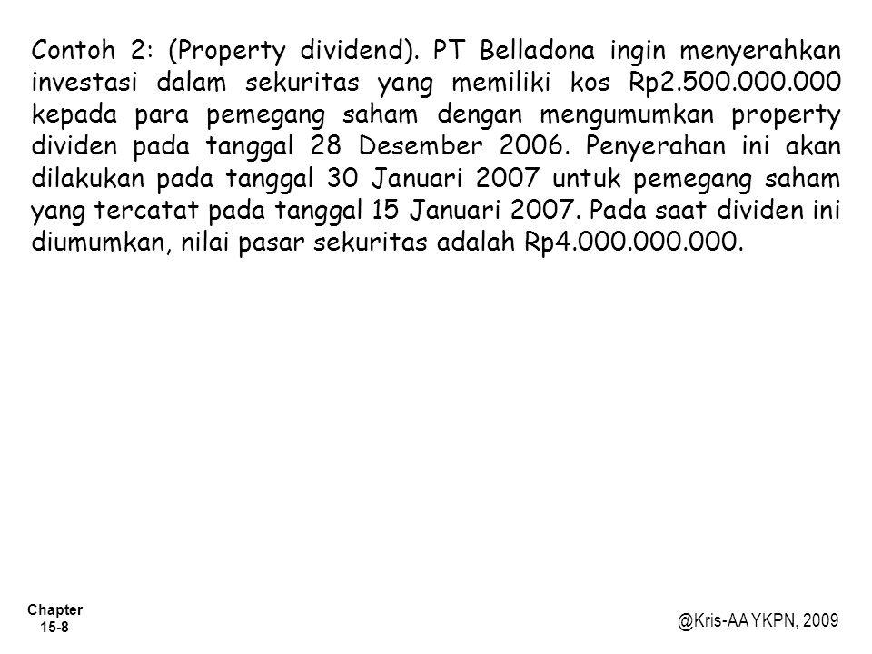 Chapter 15-8 @Kris-AA YKPN, 2009 Contoh 2: (Property dividend). PT Belladona ingin menyerahkan investasi dalam sekuritas yang memiliki kos Rp2.500.000