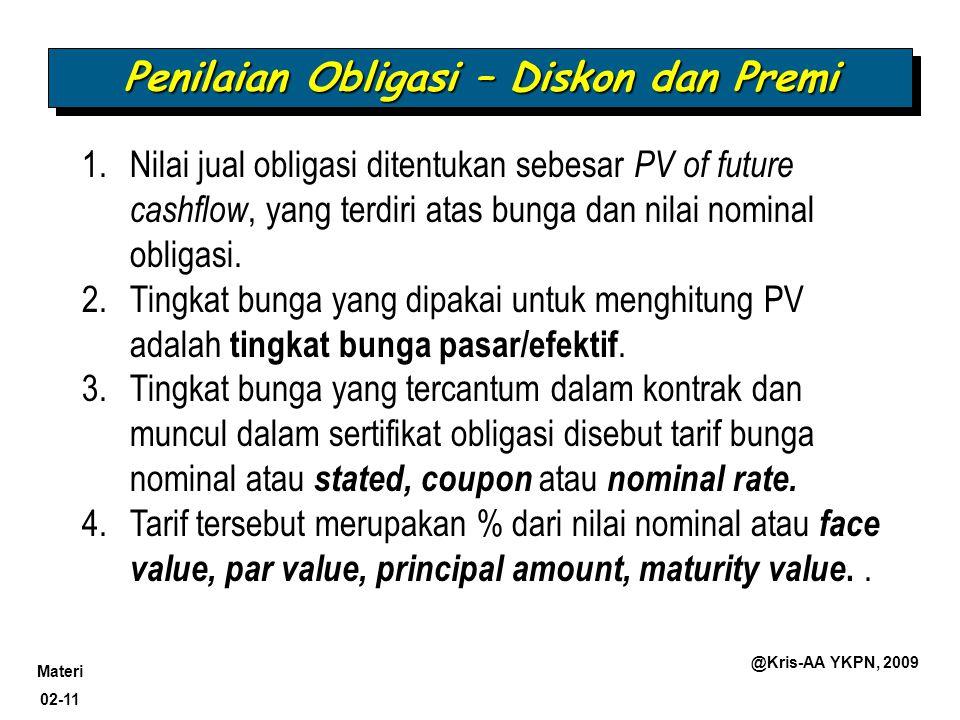 Materi 02-11 @Kris-AA YKPN, 2009 Penilaian Obligasi – Diskon dan Premi 1.Nilai jual obligasi ditentukan sebesar PV of future cashflow, yang terdiri at