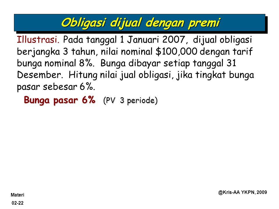 Materi 02-22 @Kris-AA YKPN, 2009 Bunga pasar 6% (PV 3 periode) Obligasi dijual dengan premi Illustrasi. Pada tanggal 1 Januari 2007, dijual obligasi b