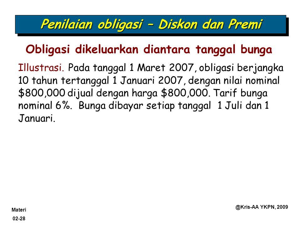 Materi 02-28 @Kris-AA YKPN, 2009 Obligasi dikeluarkan diantara tanggal bunga Penilaian obligasi – Diskon dan Premi Illustrasi. Pada tanggal 1 Maret 20