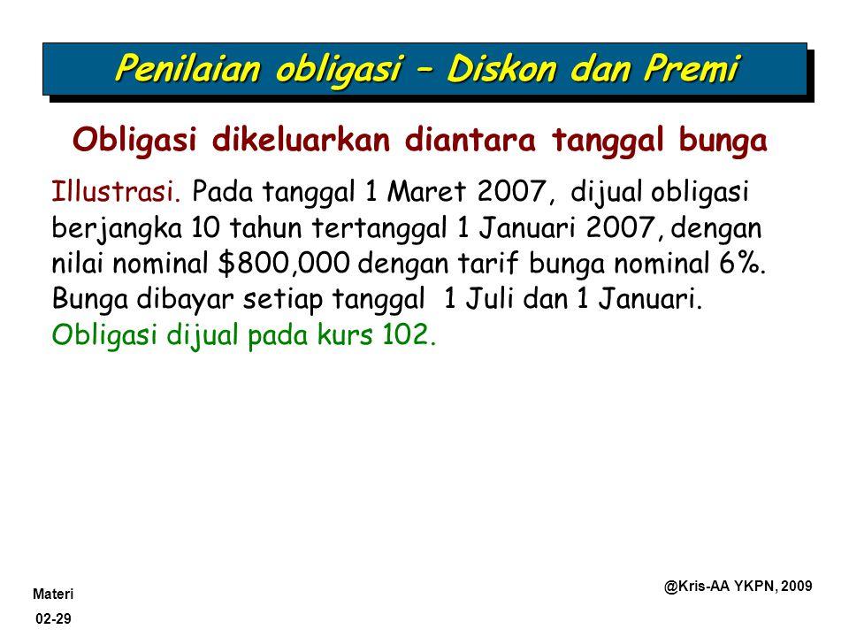 Materi 02-29 @Kris-AA YKPN, 2009 Obligasi dikeluarkan diantara tanggal bunga Penilaian obligasi – Diskon dan Premi Illustrasi. Pada tanggal 1 Maret 20