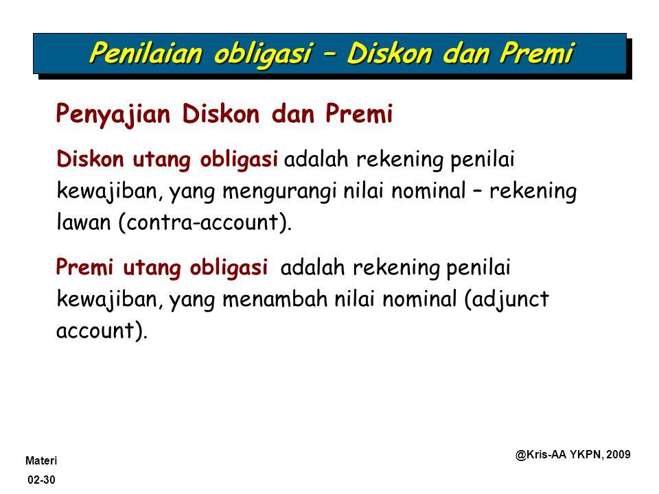 Materi 02-30 @Kris-AA YKPN, 2009 Diskon utang obligasi adalah rekening penilai kewajiban, yang mengurangi nilai nominal – rekening lawan (contra-accou