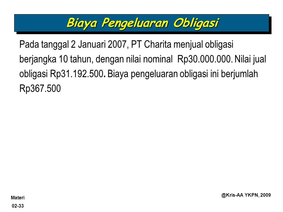 Materi 02-33 @Kris-AA YKPN, 2009 Pada tanggal 2 Januari 2007, PT Charita menjual obligasi berjangka 10 tahun, dengan nilai nominal Rp30.000.000. Nilai