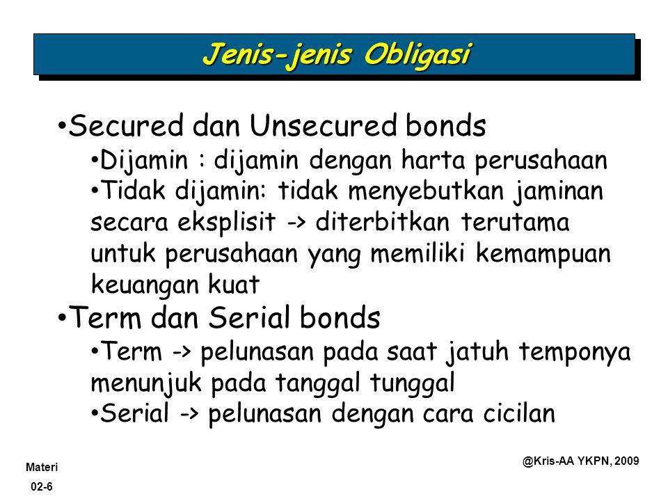Materi 02-6 @Kris-AA YKPN, 2009 Jenis-jenis Obligasi Secured dan Unsecured bonds Dijamin : dijamin dengan harta perusahaan Tidak dijamin: tidak menyeb