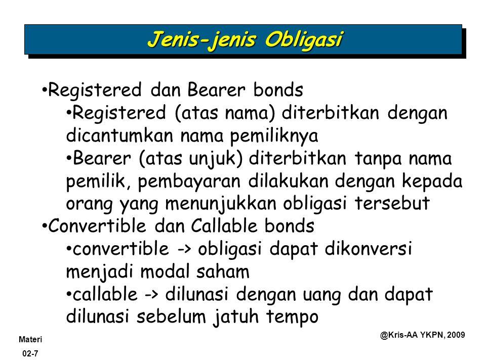 Materi 02-7 @Kris-AA YKPN, 2009 Jenis-jenis Obligasi Registered dan Bearer bonds Registered (atas nama) diterbitkan dengan dicantumkan nama pemiliknya