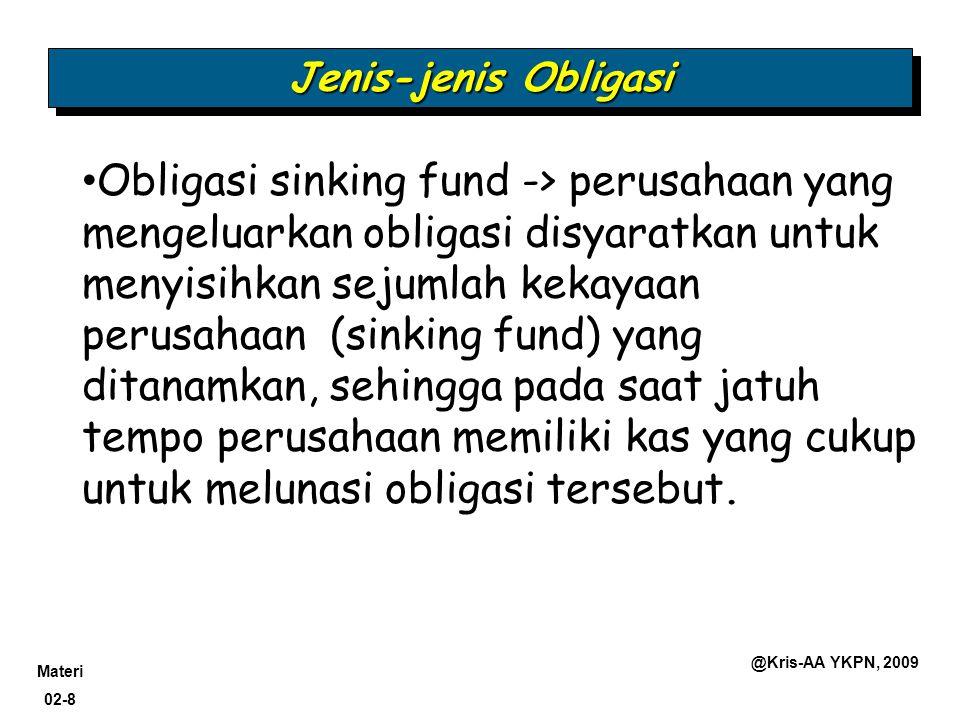 Materi 02-8 @Kris-AA YKPN, 2009 Jenis-jenis Obligasi Obligasi sinking fund -> perusahaan yang mengeluarkan obligasi disyaratkan untuk menyisihkan seju
