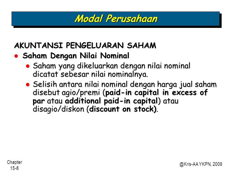 Chapter 15-9 @Kris-AA YKPN, 2009 Saham Bernilai Nominal Nilai nominal yang rendah membantu perusahaan menghindari kewajiban kontinjen.