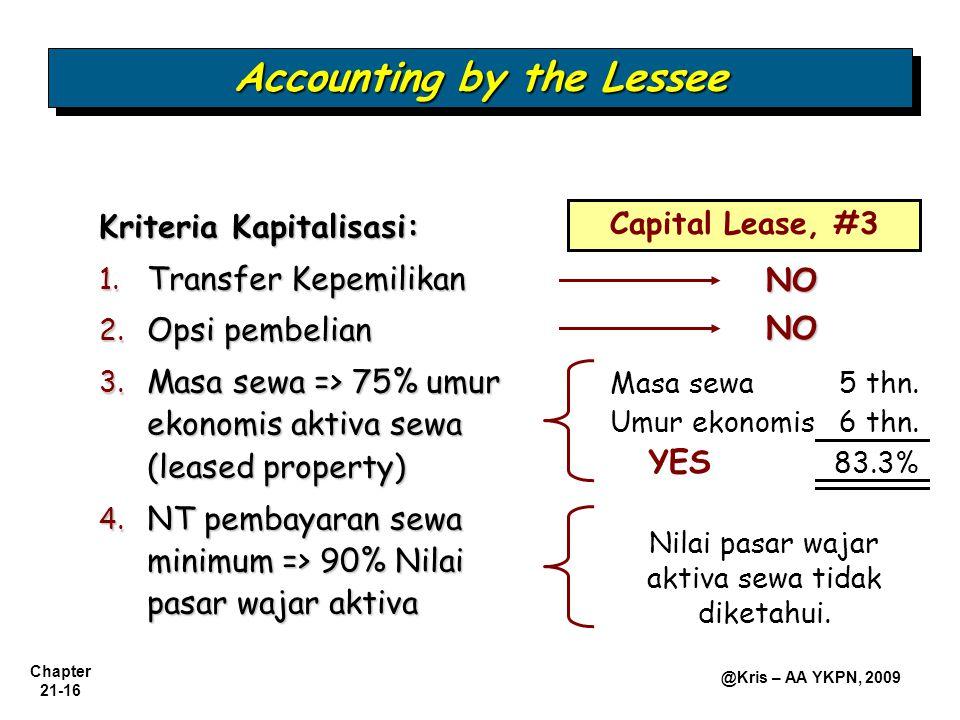 Chapter 21-16 @Kris – AA YKPN, 2009 Accounting by the Lessee Kriteria Kapitalisasi: 1. Transfer Kepemilikan 2. Opsi pembelian 3. Masa sewa => 75% umur