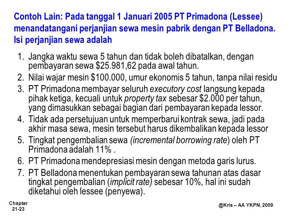 Chapter 21-23 @Kris – AA YKPN, 2009 Contoh Lain: Pada tanggal 1 Januari 2005 PT Primadona (Lessee) menandatangani perjanjian sewa mesin pabrik dengan