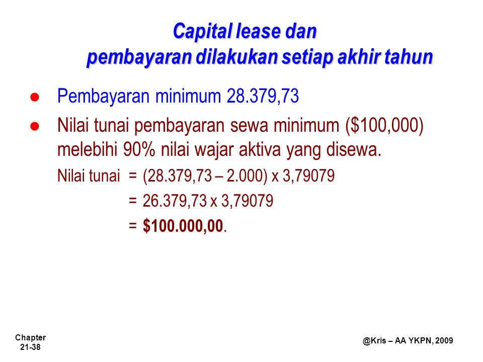 Chapter 21-38 @Kris – AA YKPN, 2009 Pembayaran minimum 28.379,73 Nilai tunai pembayaran sewa minimum ($100,000) melebihi 90% nilai wajar aktiva yang d