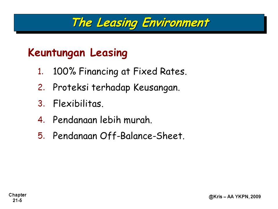 Chapter 21-26 @Kris – AA YKPN, 2009 PT PRIMADONA TABEL AMORTISASI LEASING Tanggal Pembayaran Jumlah Pembayaran Executory Cost Pembayaran Sewa Bunga Sewa Penurunan Utang Sewa Saldo Utang Sewa (1)(2)(3) = (1) – (2)(4) = 10% x (6) (5) = (3) – (4) (6) = (6) – (5) 1-1-2005$100.000,00 1-1-2005$ 25.981,62$ 2.000,00$ 23.981,62$ 0,00$23.981,6276.018,38 1-1-200625.981,622.000,0023.981,627.601,8416.379,7859.638,60 1-1-200725.981,622.000,0023.981,625.963,8618.017,7641.620,84 1-1-200825.981,622.000,0023.981,624.162,0819.819,5421.801,30 1-1-200925.981,622.000,0023.981,622.180,3221.801,300,00 129.908,1010.000,00119.908,1019.908,10100.000,00