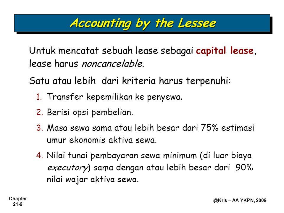 Chapter 21-9 @Kris – AA YKPN, 2009 Untuk mencatat sebuah lease sebagai capital lease, lease harus noncancelable. Satu atau lebih dari kriteria harus t