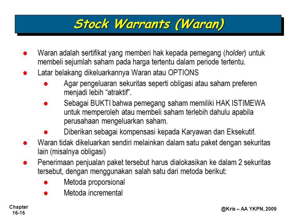 Chapter 16-15 @Kris – AA YKPN, 2009 Waran adalah sertifikat yang memberi hak kepada pemegang ( holder ) untuk membeli sejumlah saham pada harga terten