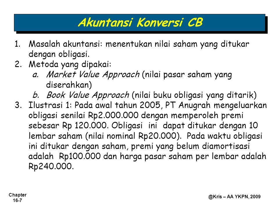 Chapter 16-7 @Kris – AA YKPN, 2009 1.Masalah akuntansi: menentukan nilai saham yang ditukar dengan obligasi. 2.Metoda yang dipakai: a.Market Value App