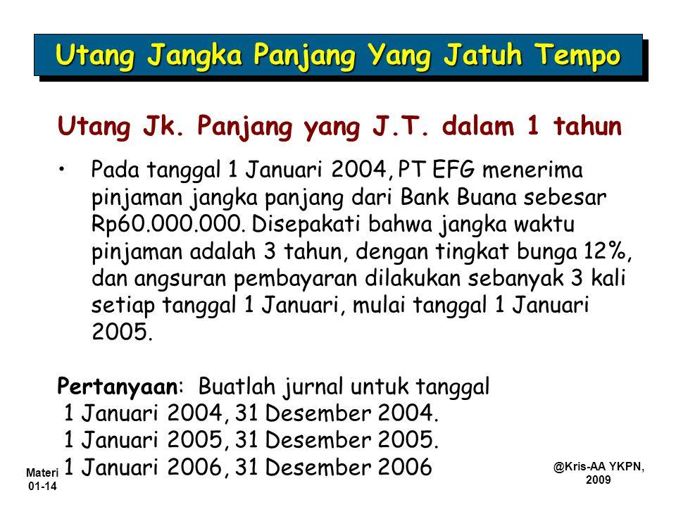 Materi 01-14 @Kris-AA YKPN, 2009 Utang Jk. Panjang yang J.T. dalam 1 tahun Pada tanggal 1 Januari 2004, PT EFG menerima pinjaman jangka panjang dari B