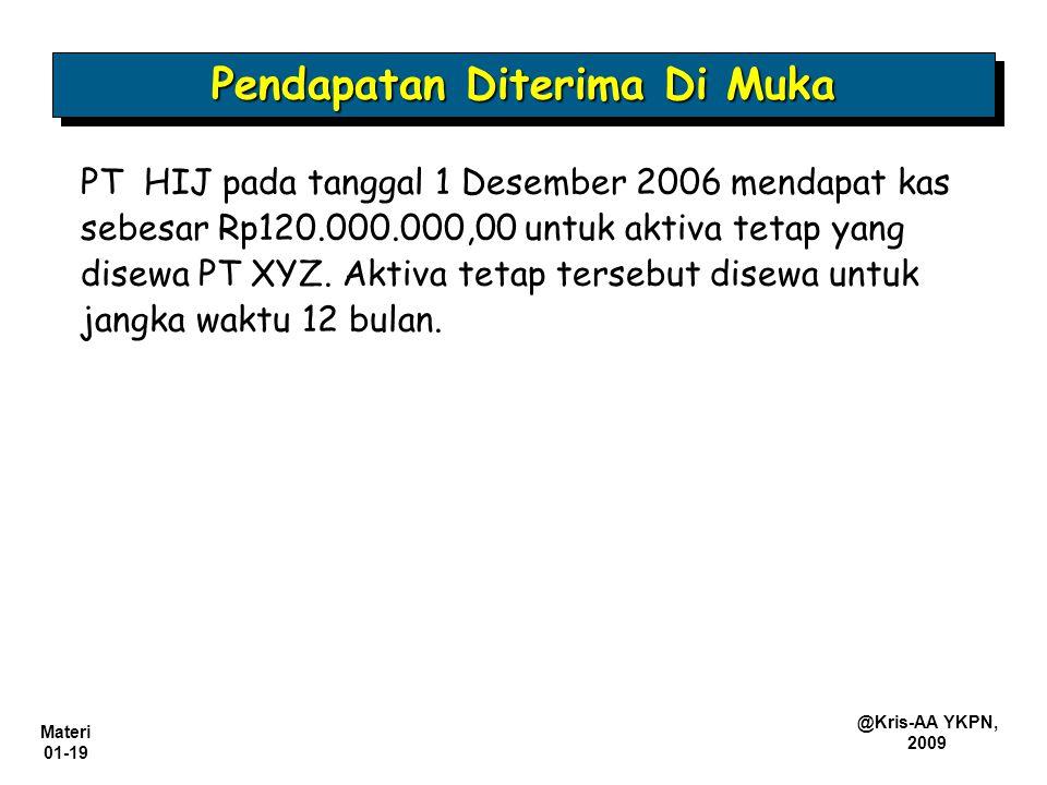 Materi 01-19 @Kris-AA YKPN, 2009 PT HIJ pada tanggal 1 Desember 2006 mendapat kas sebesar Rp120.000.000,00 untuk aktiva tetap yang disewa PT XYZ. Akti