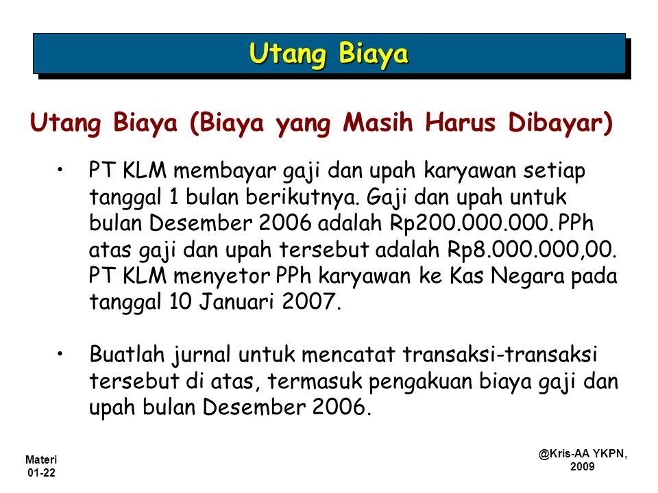 Materi 01-22 @Kris-AA YKPN, 2009 PT KLM membayar gaji dan upah karyawan setiap tanggal 1 bulan berikutnya. Gaji dan upah untuk bulan Desember 2006 ada
