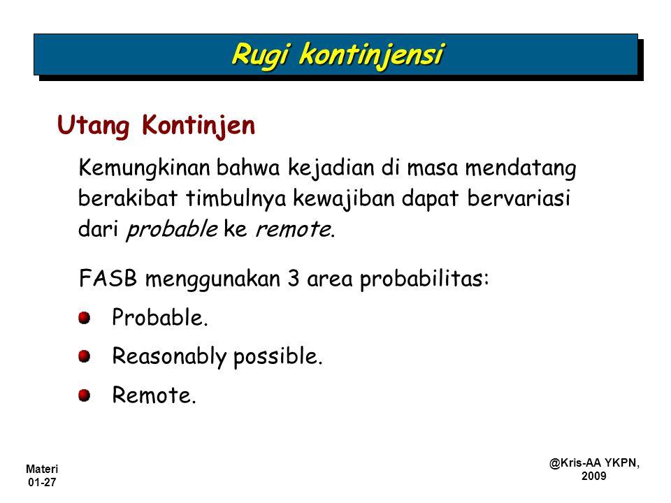 Materi 01-27 @Kris-AA YKPN, 2009 Rugi kontinjensi Kemungkinan bahwa kejadian di masa mendatang berakibat timbulnya kewajiban dapat bervariasi dari pro