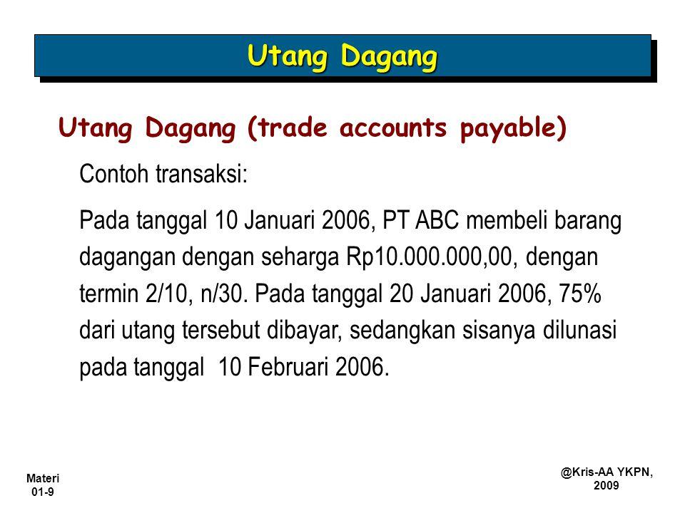 Materi 01-9 @Kris-AA YKPN, 2009 Contoh transaksi: Pada tanggal 10 Januari 2006, PT ABC membeli barang dagangan dengan seharga Rp10.000.000,00, dengan