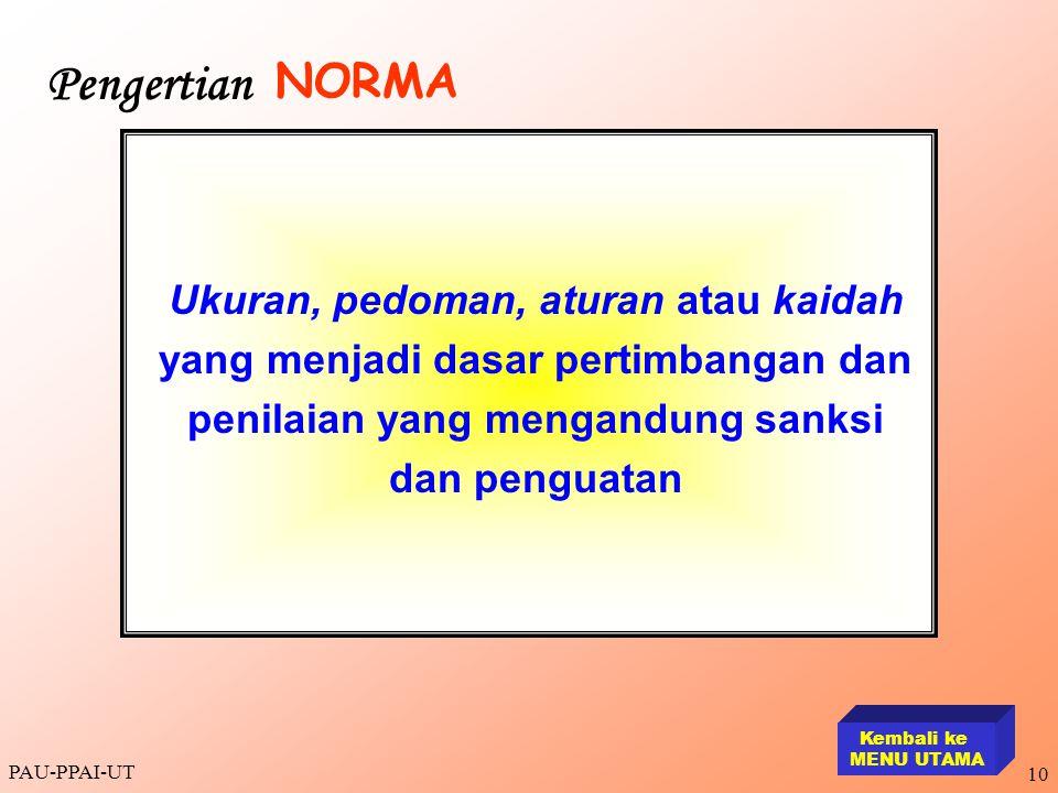PAU-PPAI-UT 10 Ukuran, pedoman, aturan atau kaidah yang menjadi dasar pertimbangan dan penilaian yang mengandung sanksi dan penguatan Kembali ke MENU