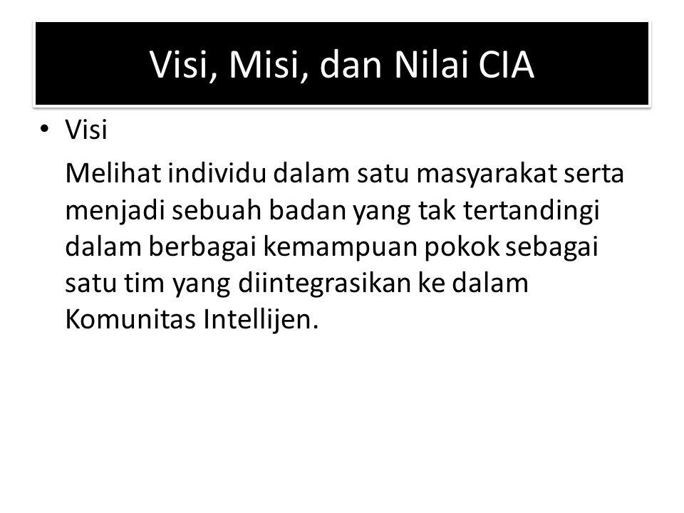 Visi, Misi, dan Nilai CIA Visi Melihat individu dalam satu masyarakat serta menjadi sebuah badan yang tak tertandingi dalam berbagai kemampuan pokok sebagai satu tim yang diintegrasikan ke dalam Komunitas Intellijen.