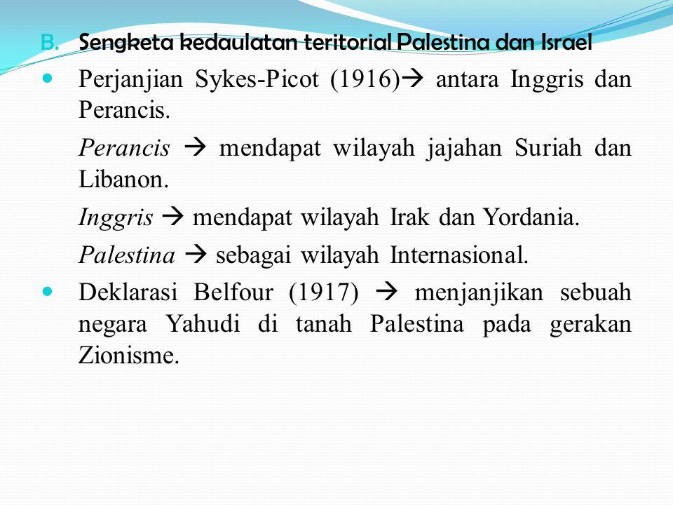 B. Sengketa kedaulatan teritorial Palestina dan Israel Perjanjian Sykes-Picot (1916)  antara Inggris dan Perancis. Perancis  mendapat wilayah jajaha