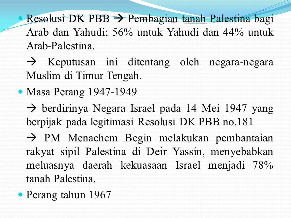 Resolusi DK PBB  Pembagian tanah Palestina bagi Arab dan Yahudi; 56% untuk Yahudi dan 44% untuk Arab-Palestina.  Keputusan ini ditentang oleh negara