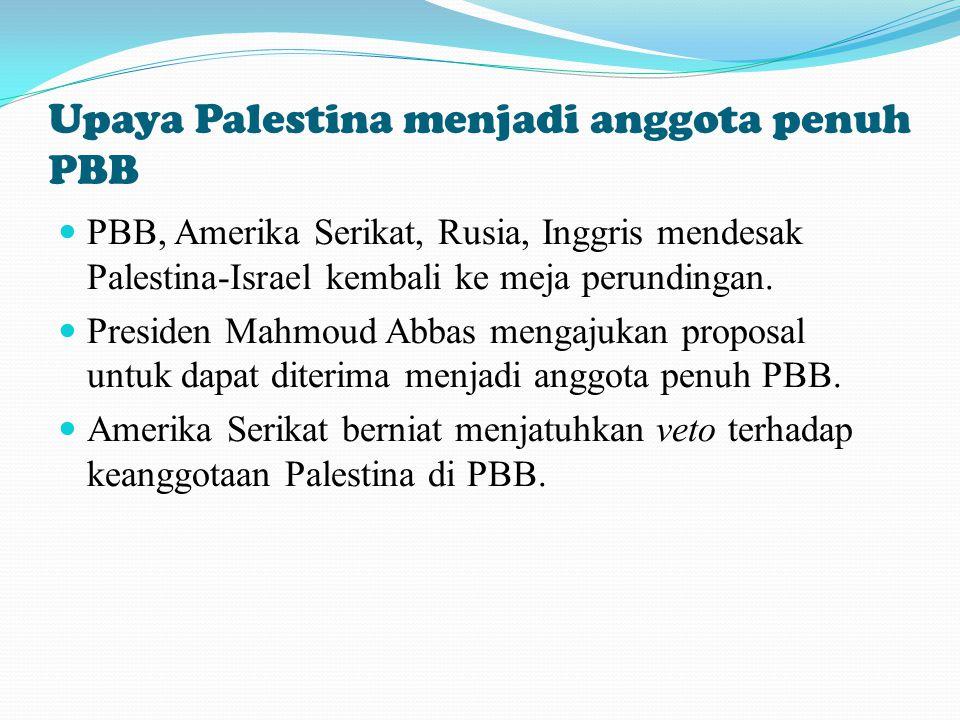 Upaya Palestina menjadi anggota penuh PBB PBB, Amerika Serikat, Rusia, Inggris mendesak Palestina-Israel kembali ke meja perundingan. Presiden Mahmoud