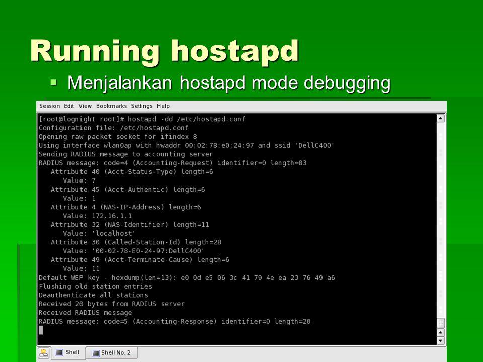 Running hostapd  Menjalankan hostapd mode debugging