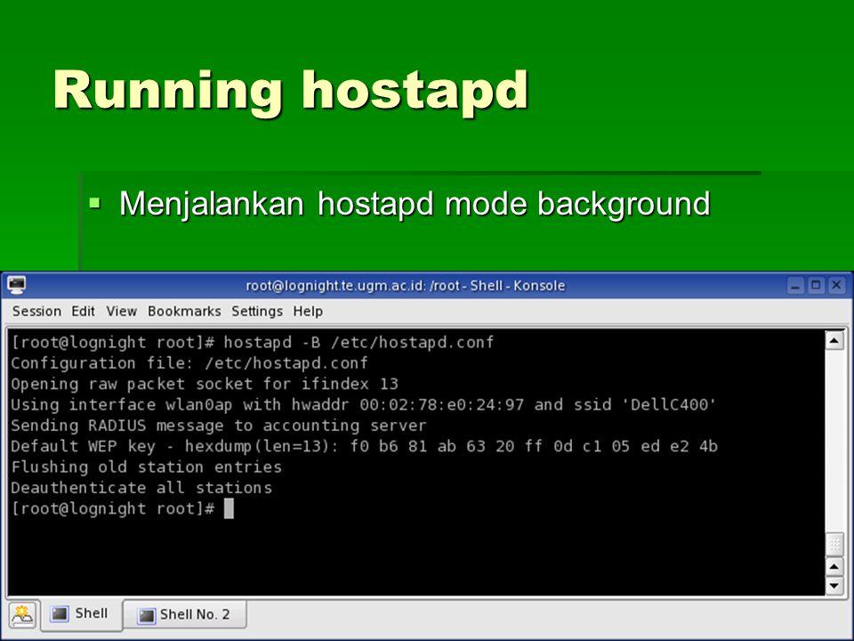 Running hostapd  Menjalankan hostapd mode background