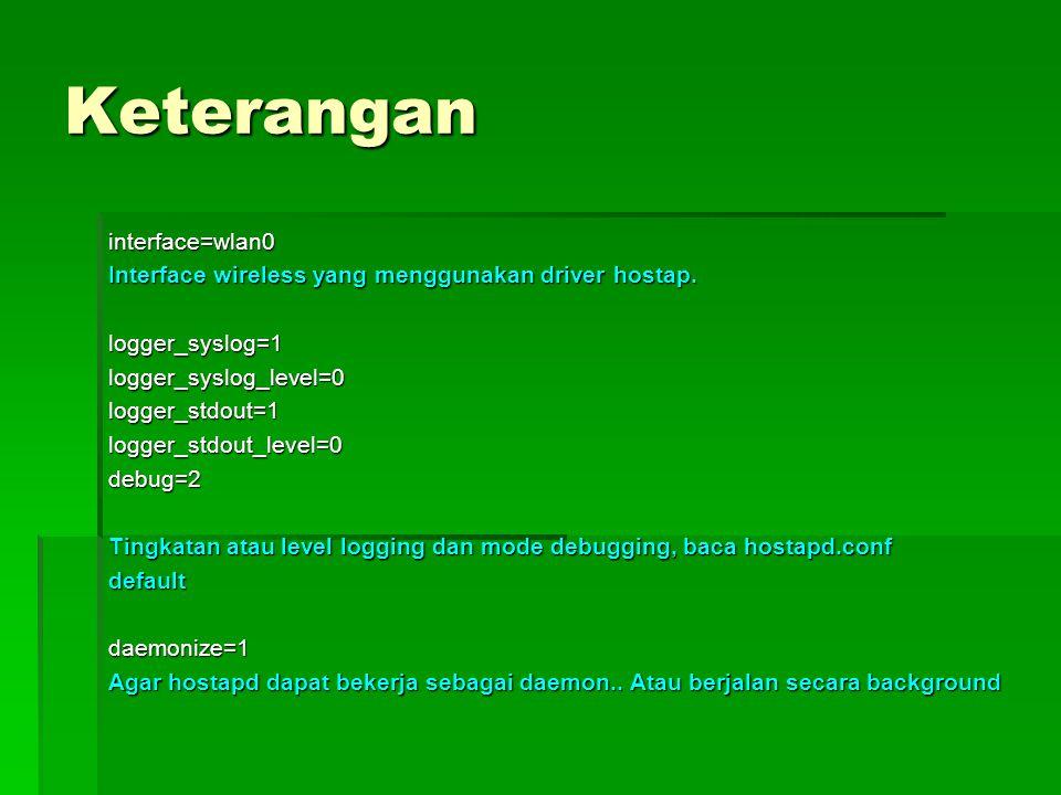 Keterangan interface=wlan0 Interface wireless yang menggunakan driver hostap. logger_syslog=1logger_syslog_level=0logger_stdout=1logger_stdout_level=0
