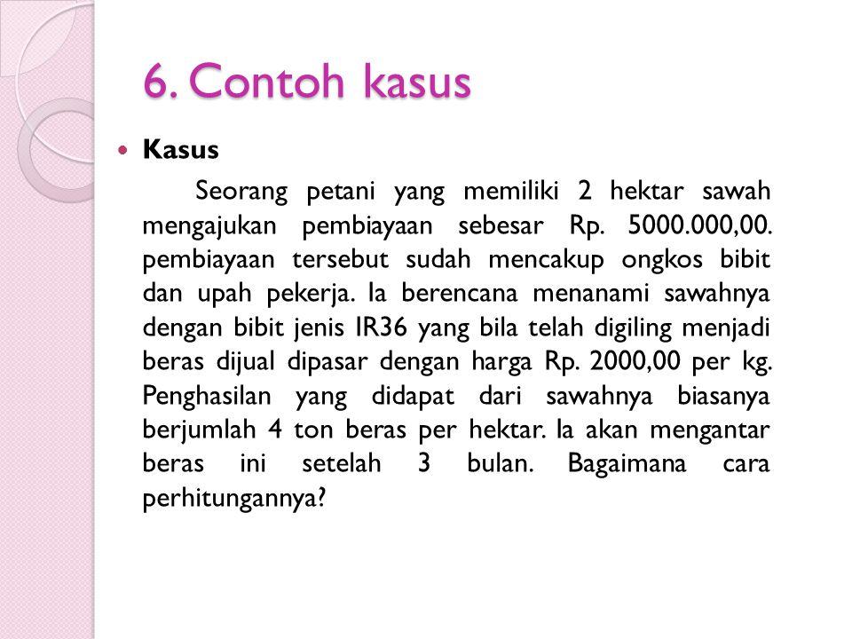 6.Contoh kasus Kasus Seorang petani yang memiliki 2 hektar sawah mengajukan pembiayaan sebesar Rp.